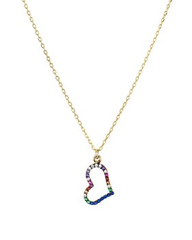 """AQUA - Open Heart Pendant Necklace in 18K Gold-Plated Sterling Silver, 16"""" - 100% Exclusive"""