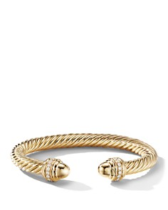 David Yurman - Cable Bracelet in 18K Yellow Gold with Gold Dome & Diamonds