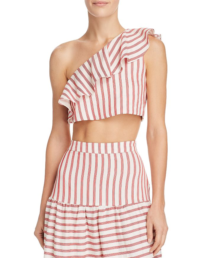 Paper London Mawi Cropped Top In Strawberry Stripe