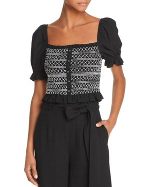 LOST AND WANDER Lost + Wander Bloody Mary Smocked Cropped Top in Black/White