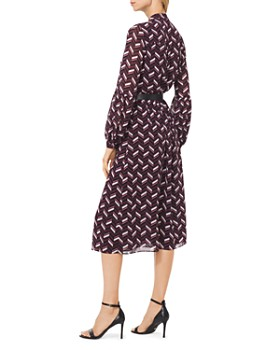 MICHAEL Michael Kors - Belted Chevron Georgette Shirt Dress