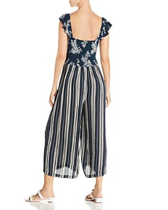 AQUA - Mixed-Print Tie-Front Jumpsuit - 100% Exclusive