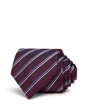 Boss Textured-Stripe Silk Skinny Tie