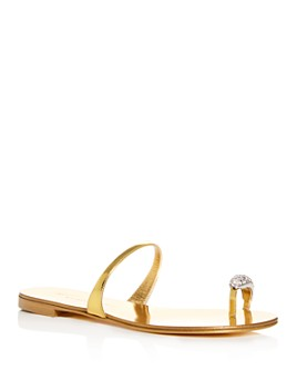 Giuseppe Zanotti - Women's Swarovski Crystal Toe Ring Slide Sandals