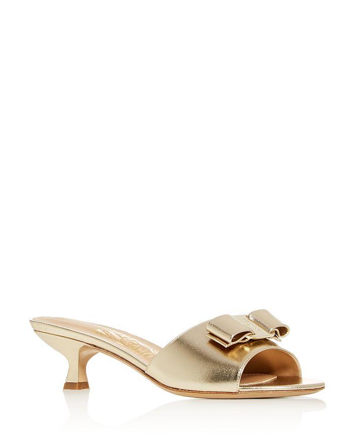 Salvatore Ferragamo - Women's Ginostra Kitten-Heel Slide Sandals - 100% Exclusive