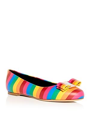 Salvatore Ferragamo Women's Varina Rainbow Stripe Flats