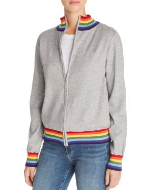 AQUA Madeleine Thompson X Aqua Rainbow-Stripe Track Jacket - 100% Exclusive in Heather Gray