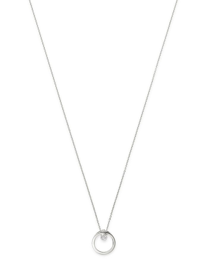Roberto Coin - 18K White Gold Circle Pendant Necklace with Diamond, 18""