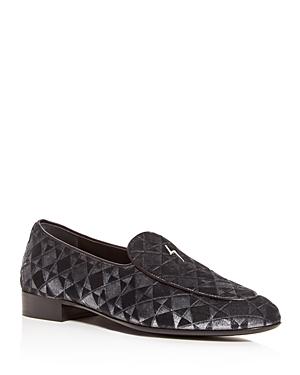 Giuseppe Zanotti Men's Patterned Velvet Apron-Toe Loafers