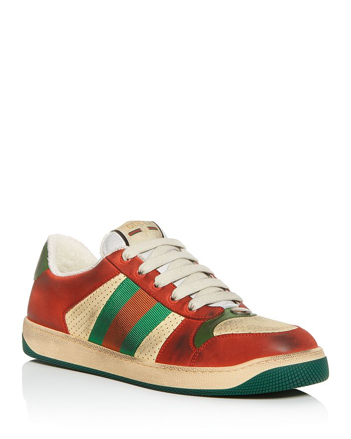 Gucci - Men's Distressed Leather Lace-Up Sneakers