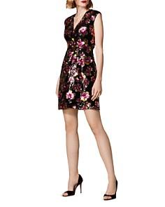 KAREN MILLEN - Sequined Floral Faux-Wrap Dress