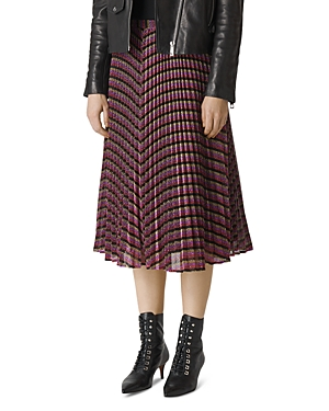 Whistles Pleated Sparkle-Stripe Skirt