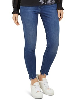 Ted Baker - Catrina Distressed-Hem Skinny Jeans in Mid Blue