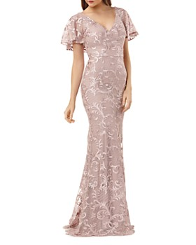 e9a19f8a73d Carmen Marc Valvo Infusion - Embroidered Flutter Sleeve Gown ...