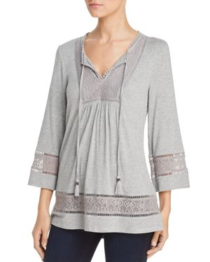 DANIEL RAINN Lace Trim Knit Peasant Top in Light Heather Gray
