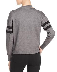 Elan - Distressed Stripe Sleeve Sweater