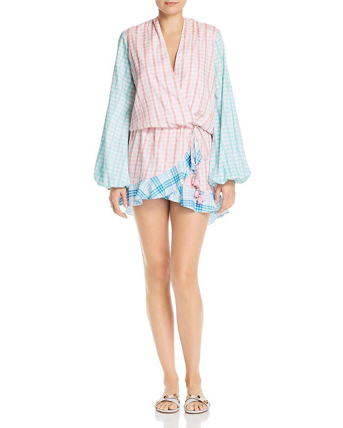 Rococo Sand - Plaid Faux-Wrap Mini Dress