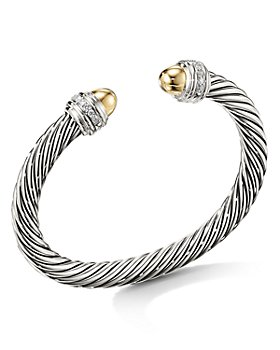 David Yurman - Cable Bracelet with 14K Yellow Gold Dome & Diamonds