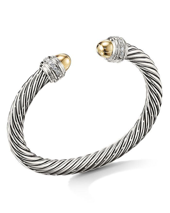 David Yurman - Cable Bracelet with 14K Yellow Gold Dome & Diamonds
