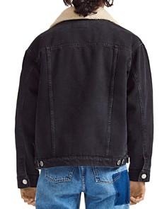 Maje - Sherpa-Trimmed Denim Jacket in Black