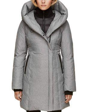 SOIA & KYO Hooded Leather Trim Down Coat in Ash