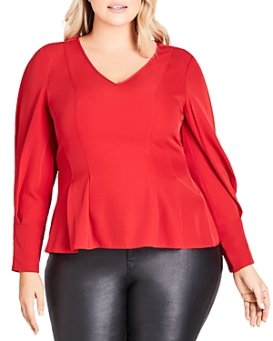 City Chic Plus Pow Wow Pleated Top