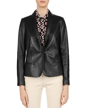4c551e88135e1 Gerard Darel - Susie Shawl Collar Leather Blazer ...