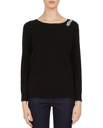 2dcdb0fe211 Gerard Darel Chrissy Embellished Wool   Cashmere V-Back Sweater ...