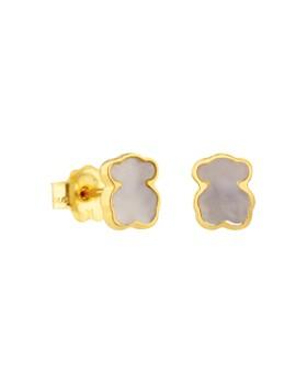TOUS - 18K Yellow Gold XXS Mother-Of-Pearl Bear Stud Earrings