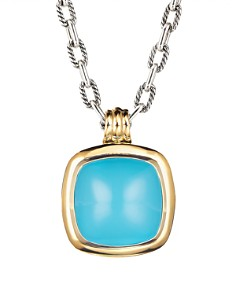 David Yurman - Albion Pendant with Reconstituted Turquoise & 18K Yellow Gold