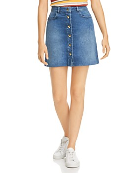 FRAME - Claire Snap-Front Denim Skirt