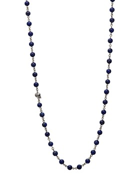 """John Varvatos Collection - Lapis Bead Sterling Silver Link Necklace, 24"""""""