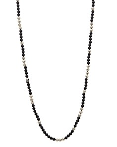 John Varvatos Collection - Sterling Silver & Onyx Bead Necklace, 24""