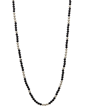 John Varvatos Collection Sterling Silver & Onyx Bead Necklace, 24