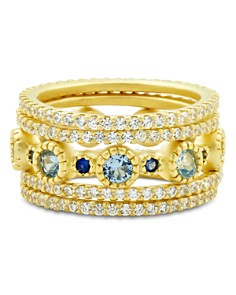 Freida Rothman - Imperial Blue Stackable Rings in 14K Gold-Plated Sterling Silver, Set of 5