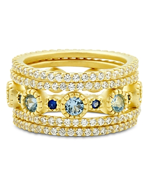 Freida Rothman Imperial Blue Stackable Rings in 14K Gold-Plated Sterling Silver, Set of 5