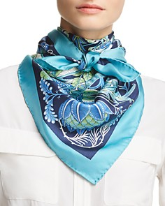 Salvatore Ferragamo - Tapestry Floral Gancini Silk Scarf
