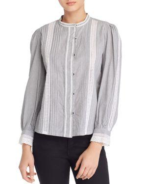 La Vie Rebecca Taylor Lace-Trim Striped Cotton Shirt