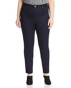 Seven7 Jeans Plus - Color-Block Skinny Jeans in Black/Blue
