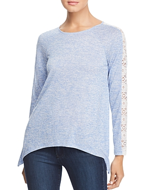 Design History Lace Inset Space-Dye Top