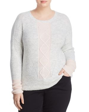 DESIGN HISTORY Ribbed Color-Block Sweater in Silver Star Night