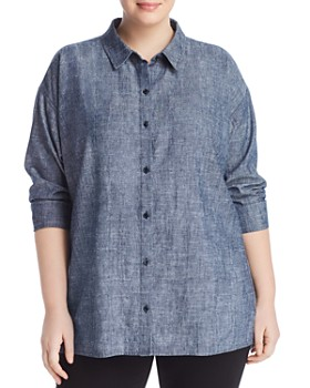 Eileen Fisher Plus - Button-Down Tunic ... 899aff381