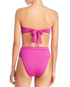 Red Carter - Button-Detail Textured Bandeau Bikini Top & High-Waist Bikini Bottom