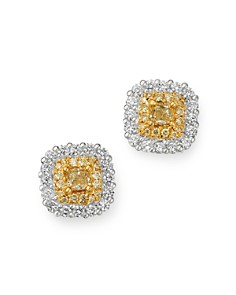 Bloomingdale's - Cushion-Cut Yellow & White Diamond Stud Earrings in 18K White & Yellow Gold - 100% Exclusive