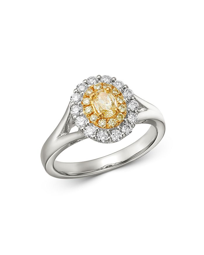 Bloomingdale's Oval Yellow & White Diamond Ring In 18K White & Yellow Gold - 100% Exclusive In Yellow/White
