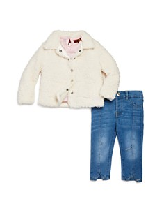 7 For All Mankind - Girls' Sherpa Jacket, Long-Sleeve Tee & Skinny Jeans Set - Baby