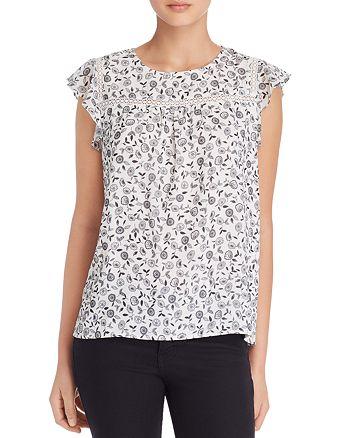 AQUA - Flutter-Sleeve Floral Print Top - 100% Exclusive