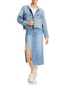 SJYP - Distressed Denim Skirt in Denim Blue