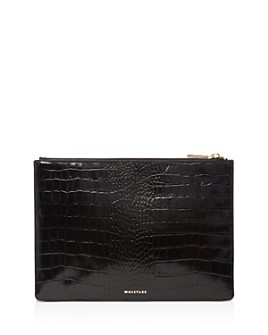 Whistles - Small Shiny Croc-Embossed Leather Clutch