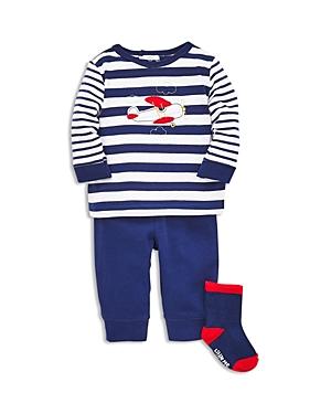 Little Me Boys Airplane Long Sleeve Tee Jogger Pants  Socks Set  Baby